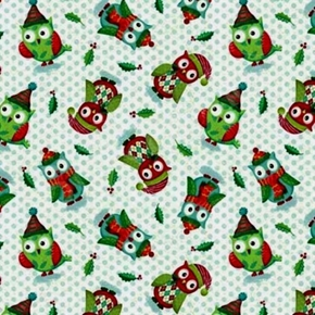 Owl Be Home For Christmas Holiday Owls On Polka Dots Cotton Fabric