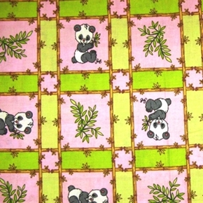 Precious Moments Baby Panda In Bamboo Squares Cotton Fabric