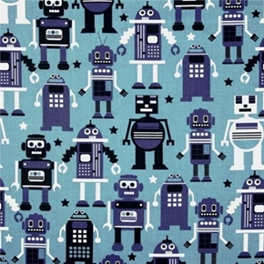 Picture of Planet Buzz Large Robots on Blue Cotton Fabric