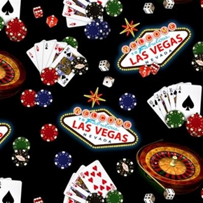 Picture of Games of Chance Welcome to Las Vegas Poker Gambling Cotton Fabric