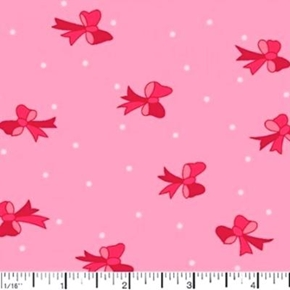 Pink Ribbons And Polka Dots On Pink Cotton Fabric