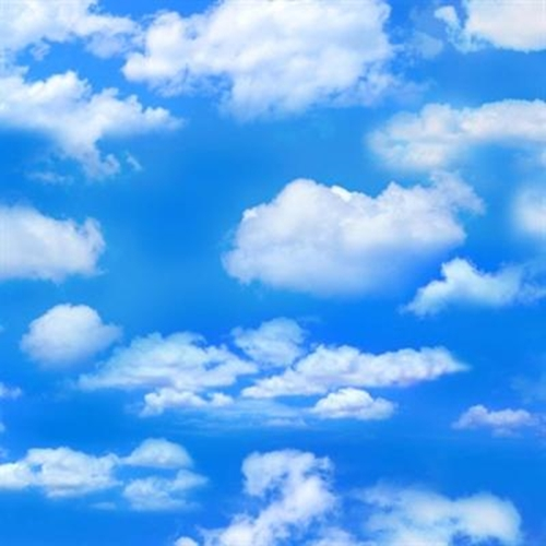 Landscape Medley Blue Sky With White Clouds Cotton Fabric