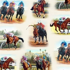 Horse Breeds Thoroughbred Horses Racing Track Cream Cotton Fabric