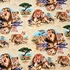 The Lions Pride Lions And Cub In Africa Cotton Fabric