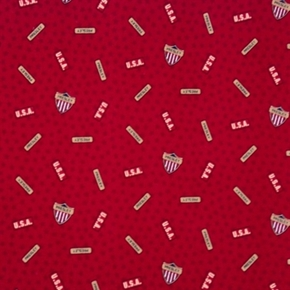 Picture of Elvis Presley Military Emblems on Burgundy OOP Cotton Fabric