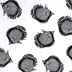 Neptunes Dream Fish Toile Black And White Angel Fish Cotton Fabric