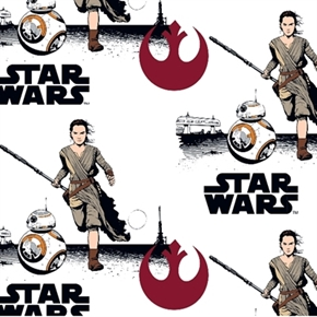 Flannel Star Wars Vii Rey And Bb8 Logos White Cotton Fabric