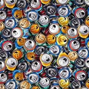 Fizz Ed Crushed Aluminum Cans Soda And Beer Can Tops Cotton Fabric