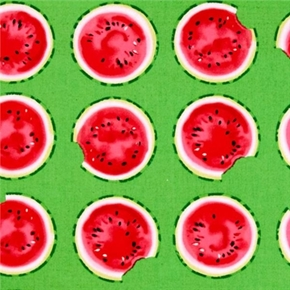 Picture of Mad For Melon Round Watermelon Slices on Green Cotton Fabric
