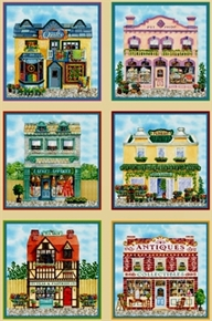 Old Town Village Shops In Blocks 24X44 Large Cotton Fabric Panel