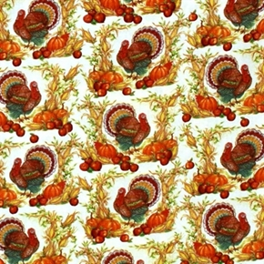 Picture of Thanksgiving Harvest Turkeys on Cream Cotton Fabric