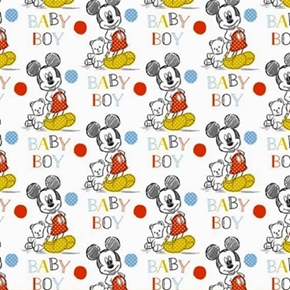 Disney Mickey Mouse Nursery Oh Boy Baby Boy Cotton Fabric