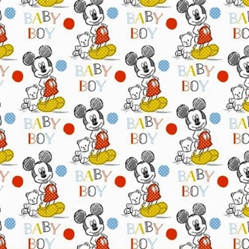 Disney Mickey Mouse Nursery Oh Boy Baby Cotton Fabric