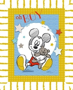 Disney Mickey Mouse Nursery Oh Boy Baby Boy Large Cotton Fabric Panel