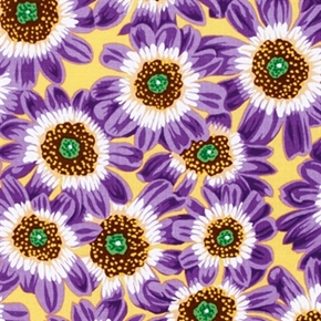Picture of Botanical Flowers Purple Cineraria on Yellow Cotton Fabric