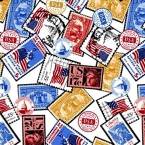 One Nation Vintage Postage Stamps Patriotic Cotton Fabric