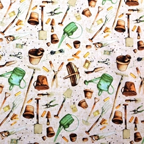 Garden Tools Gardening Rakes Shovels Watering Cans Cotton Fabric