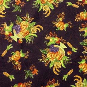Picture of Harvest Print Gold Bowls of Autumn Vegetables Gourds Cotton Fabric