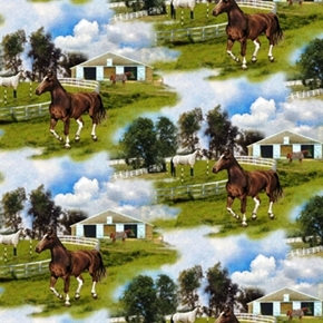 World Of Horses Horse Farm Riding Stable Cotton Fabric
