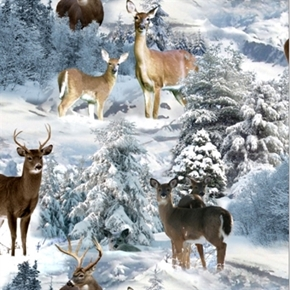 North American Wildlife Deer In The Winter Snow Cotton Fabric