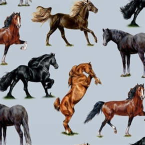 Horse Breeds Arabian Friesian Thoroughbred Horses Blue Cotton Fabric