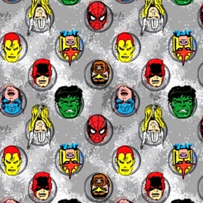 Marvel Comics Immortals Avengers Superhero Faces Gray Cotton Fabric