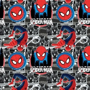 Spiderman Ii Ultimate Spider Man Icons On Grey Cotton Fabric