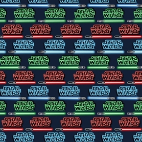 Star Wars Immortals Light Sabers Title In Neon Lights Cotton Fabric