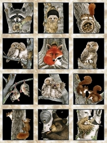 "Picture of Hoo's Tree Woodland Animal Block 24x44"" Large Cotton Fabric Panel"