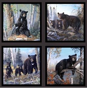 Picture of Honey Tree Black Bears Bear Family 24x44 Large Cotton Fabric Panel