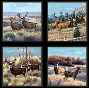 Mule Deer In Sage Buck Doe Fawn 24X44 Large Cotton Fabric Panel