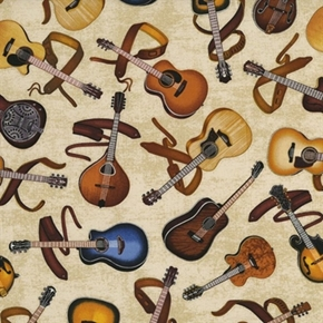 All Amped Up Acoustic Guitar And Mandolin Classic Music Cotton Fabric