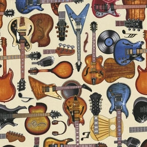 Picture of All Amped Up Electric Guitars Microphones Music Cotton Fabric