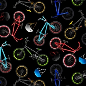 In Motion Mountain Bikes Bicycles And Helmets Cotton Fabric
