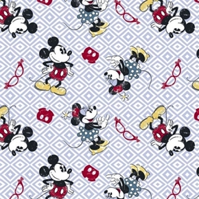 Picture of Disney Mickey Minnie Toss Vintage Look on Diamond Cotton Fabric