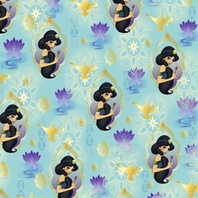Picture of Disney Aladdin Princess Jasmine with Flower on Teal Cotton Fabric