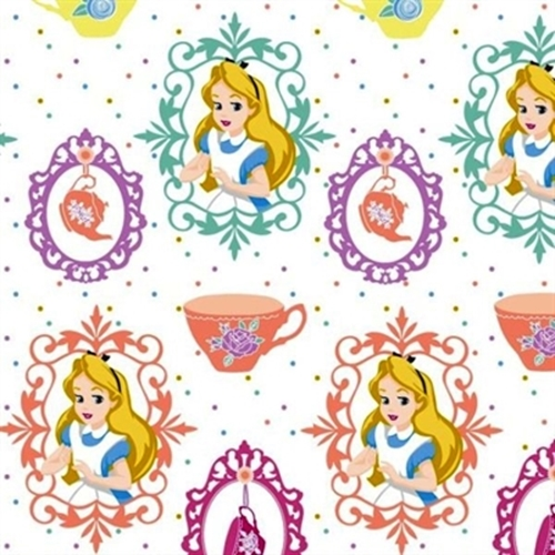 Picture of Disney Alice in Wonderland Tea Party Teacups on White Cotton Fabric