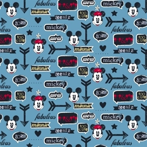 Disney Mickey Minnie With Icons Vintage Look Blue Cotton Fabric