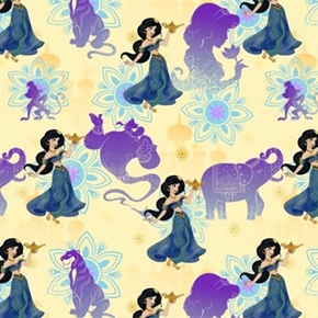 Disney Aladdin Princess Jasmine Abu Genie Rajah Lamp Cotton Fabric
