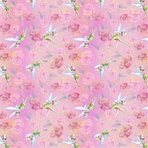 Disney Tink With Roses Tinkerbell Pink Cotton Fabric