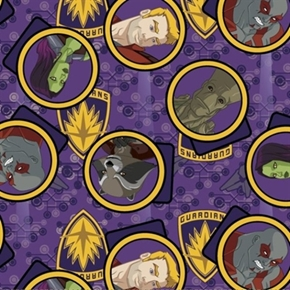 Guardians Of The Galaxy Movie Character Badges Shields Cotton Fabric