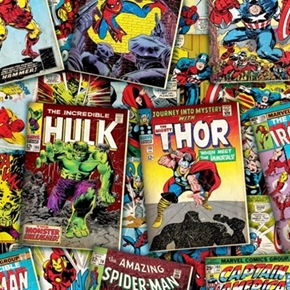 Marvel Vintage Comic Book Covers Packed Cotton Fabric