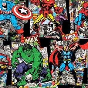 Marvel Comic Book Cover And Character Toss Vintage Look Cotton Fabric