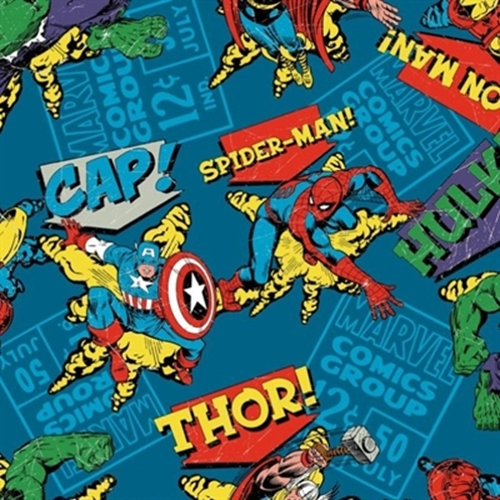 Marvel Comic Book Character Toss Vintage Look Blue Cotton Fabric