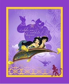 Disney Aladdin a Whole New World Jasmine Large Cotton Fabric Panel