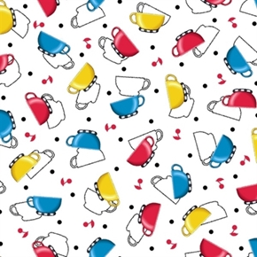 Tea Time Mary Engelbreit Blue Yellow Red Teacups White Cotton Fabric