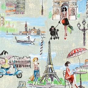 Picture of Bridget's Travel Traveling Europe Eiffel Pisa Big Ben Cotton Fabric