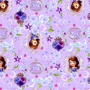 Disney Sofia The First Framed Crest And Crown Purple Cotton Fabric