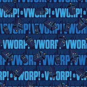 Doctor Who Worp Worp Words And Tardis Blue Cotton Fabric