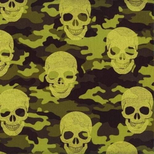 Picture of Camouflage Skulls Camo Skull Pattern Metallic Accents Cotton Fabric